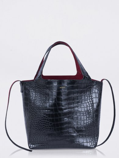 THEA BLACK CROCO VEGAN SHOPPER BAG
