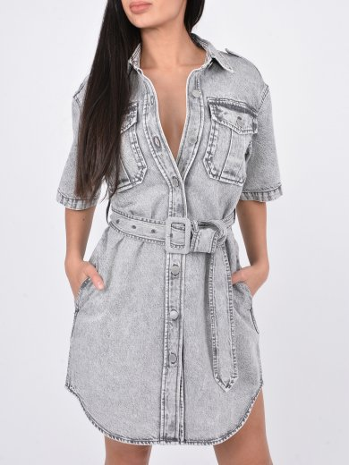 SHORT-SLEEVED DENIM DRESS