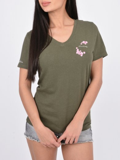 GREEN LINEN BLENDED T-SHIRT WITH PRINT