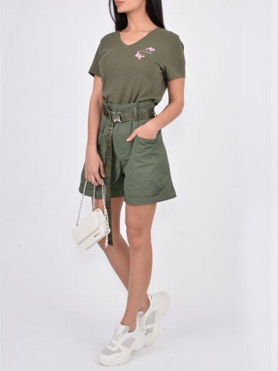 MILITARY GREEN BERMUDA SHORTS WITH BELT