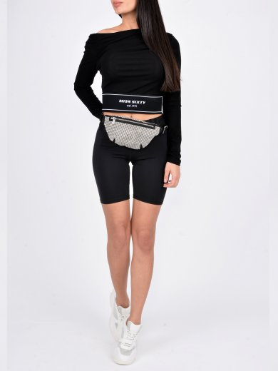 BLACK CROP TOP WITH OPEN SHOULDER
