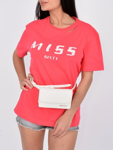 RED T-SHIRT WITH EMBROIDERED LOGO AND DESTROYED COLLAR