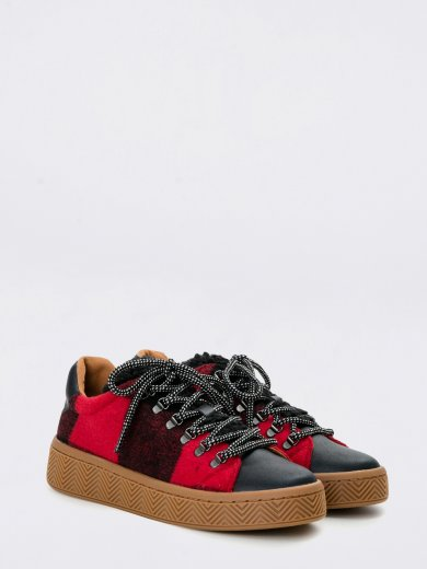 GINGER SNEAKER SILK SCOTTISH BLACK CARMIN