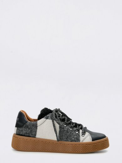 GINGER SNEAKER SILK SCOTTISH BLACK WHITE