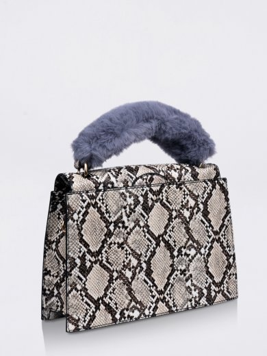 OLIVIA BEIGE SNAKE VEGAN HANDLE BAG