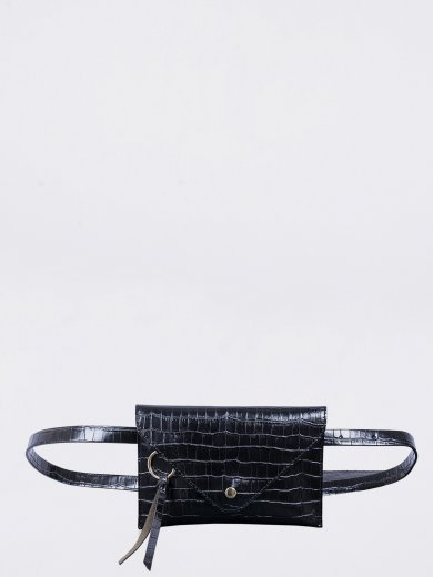 IDA BLACK CROCO VEGAN BELT BAG
