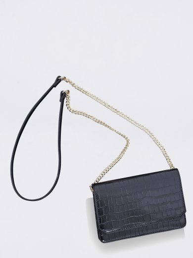 LOTTIE BLACK CROCO VEGAN CROSSBODY BAG