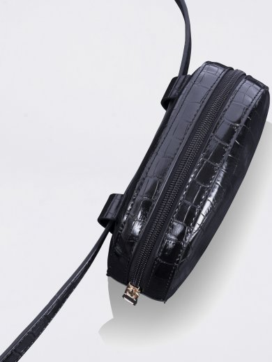 MILA BLACK CROCO VEGAN HIP BAG