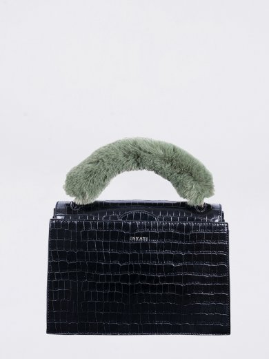 OLIVIA BLACK CROCO VEGAN HANDLE BAG