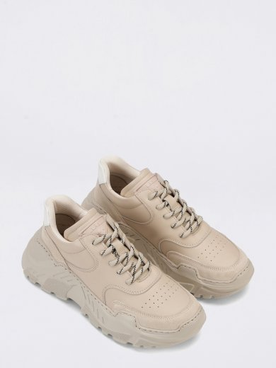 SPRINT LEATHER BEIGE CHUNKY SNEAKERS