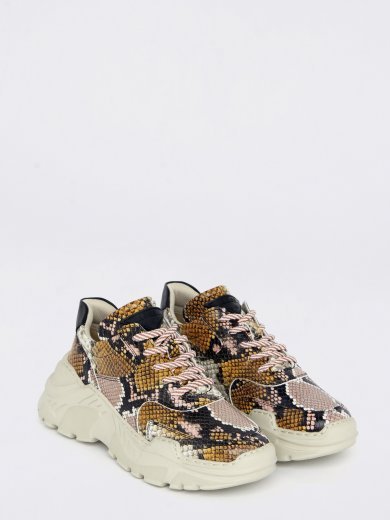 SPRINT LEATHER SNAKE PINK CHUNKY SNEAKERS