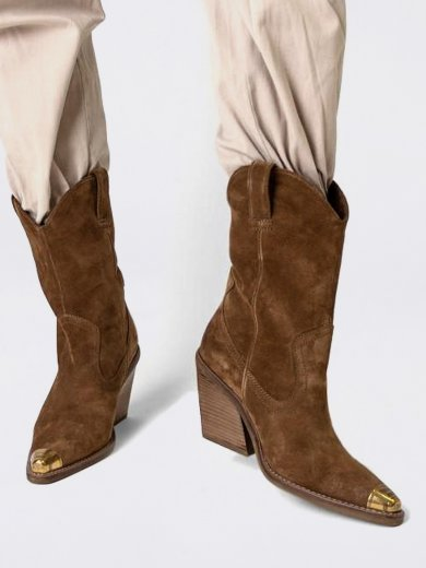 NEW-KOLE METAL TOE COGNAC BOOTS