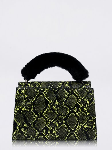 OLIVIA NEON GREEN SNAKE VEGAN HANDLE BAG